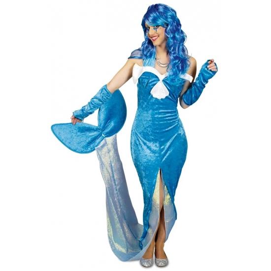 Blauw zeemeermin verkleed kostuum/jurk voor dames.