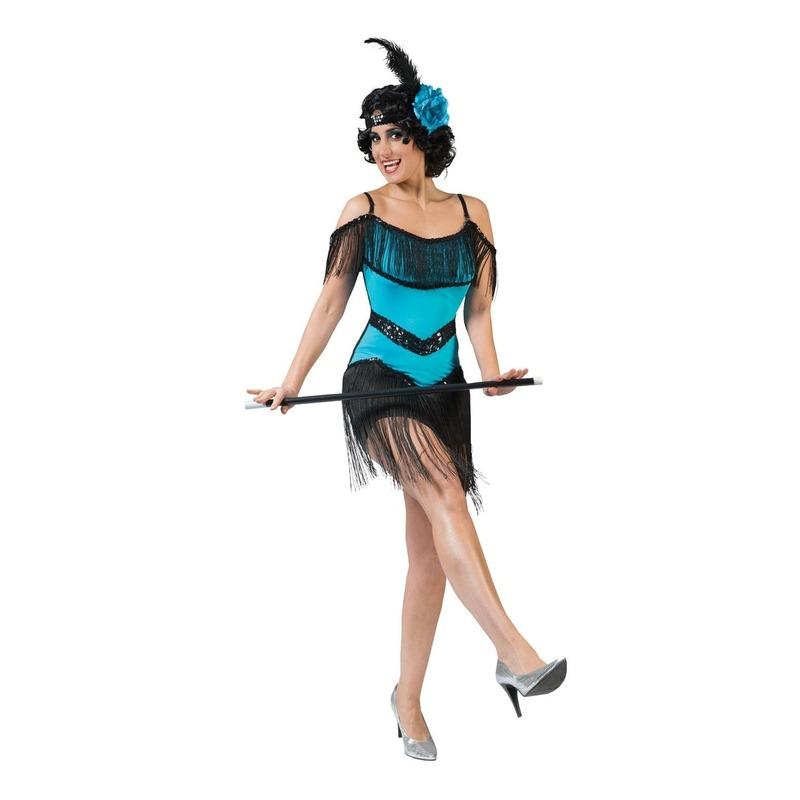 Blauw/zwart charleston verkleed jurkje voor dames