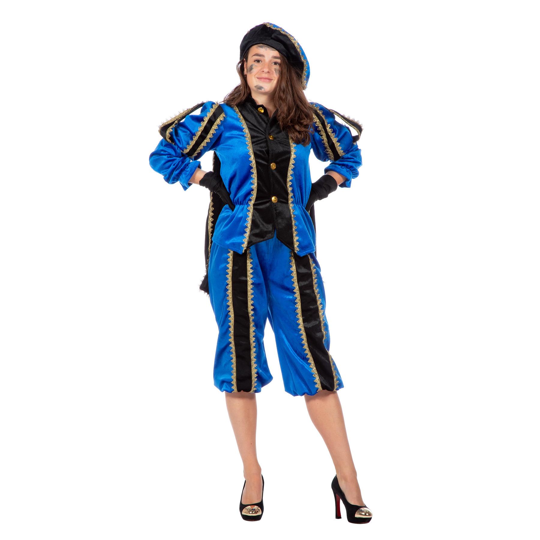 Blauw/zwarte Pieten kostuum fluweel