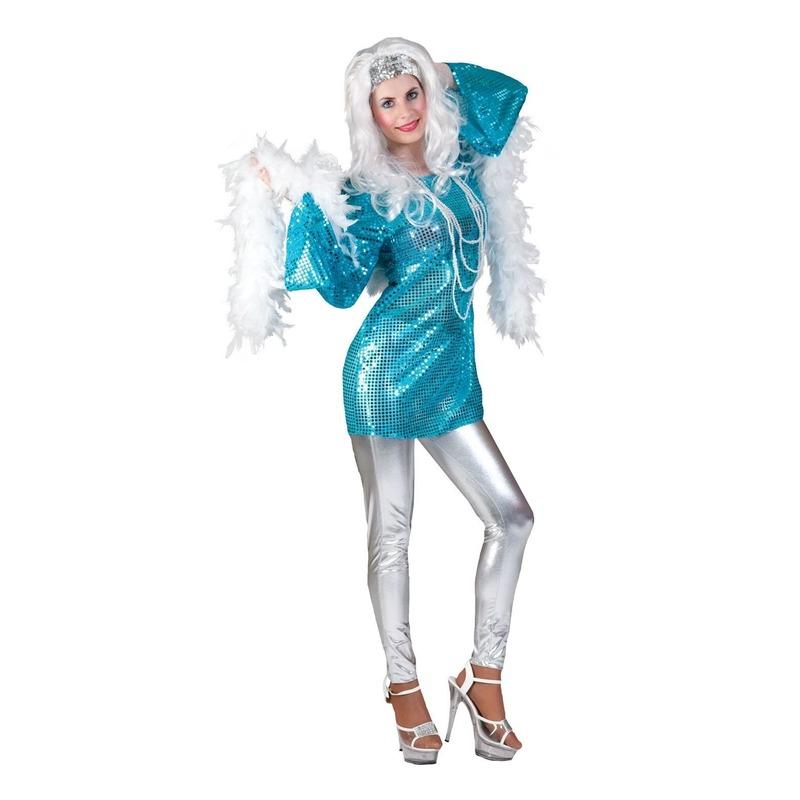 Blauwe disco queen seventies verkleed shirt voor dames