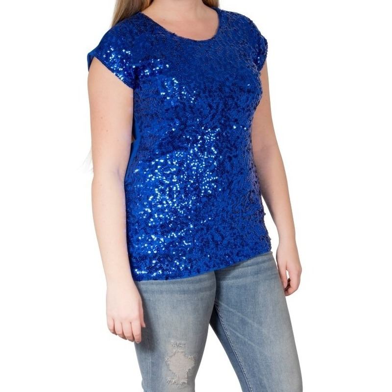 Blauwe glitter pailletten disco shirt dames L/XL