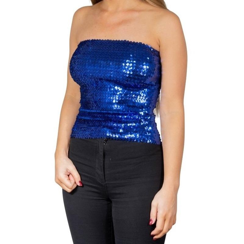 Blauwe glitter pailletten disco strapless topje/ shirt dames