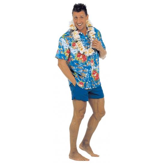 Blauwe Hawaii blouse