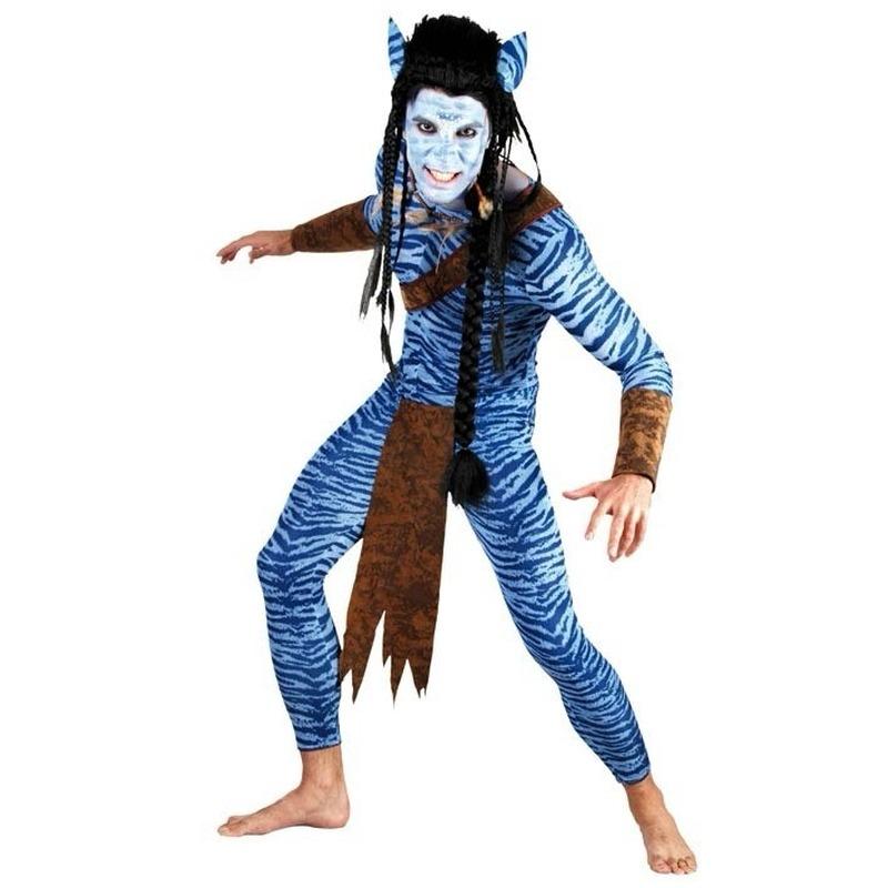 Blauwe jungle strijder kostuum voor heren