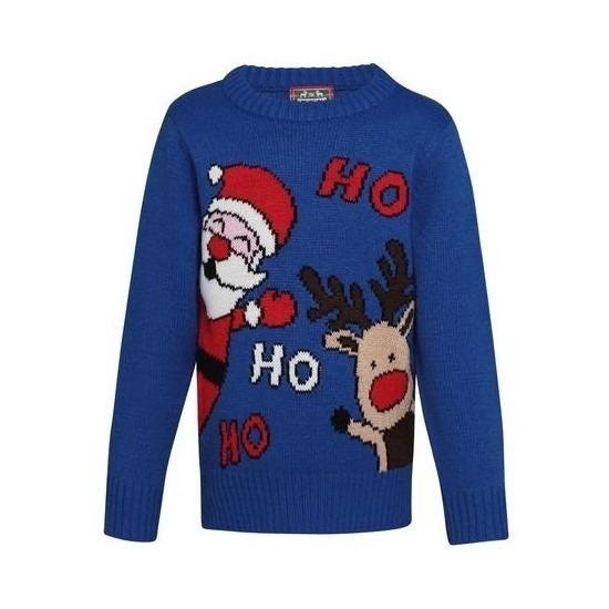 Blauwe kerst trui Ho Ho Ho voor kinderen 7-8 jaar (128-134) Blauw