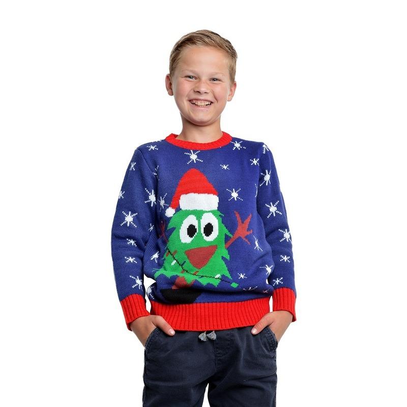 Blauwe kerst trui met kerstboom voor kinderen 11/12 jaar (152/158) Blauw