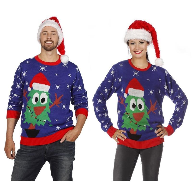 Blauwe kerst trui met kerstboom voor volwassenen