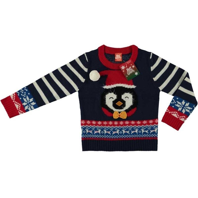 Blauwe kersttrui pinguin voor kinderen 152/164 (12/13 jaar) Blauw