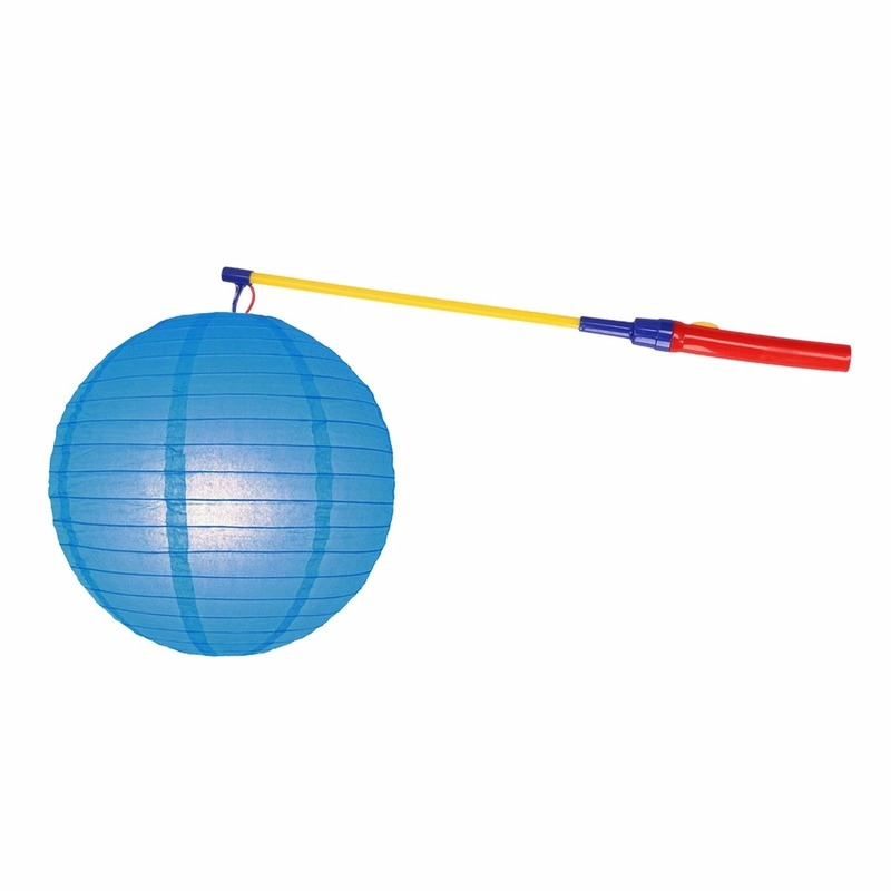 Blauwe lampion 25 cm met lampionstokje