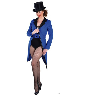 Blauwe lange slipjas dames