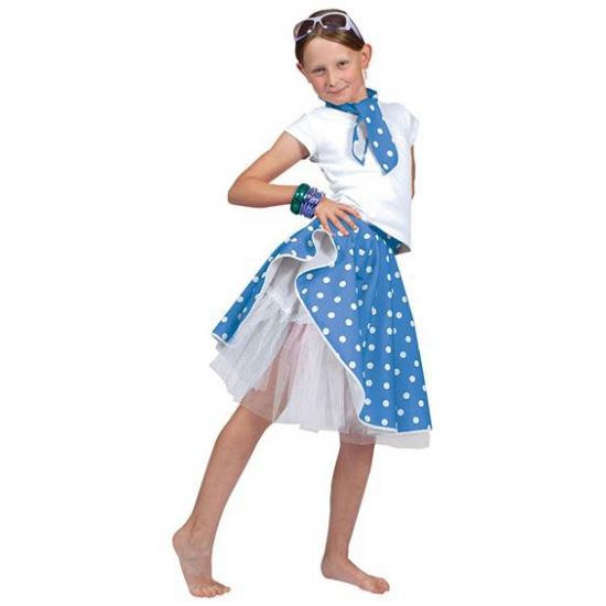 Blauwe rock n roll rok met stippen voor meisjes