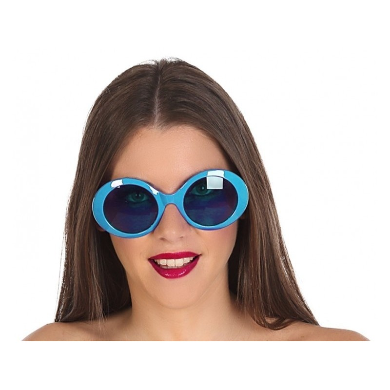 Blauwe ronde verkleed zonnebril