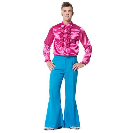 Blauwe wijd uitlopende broek voor heren