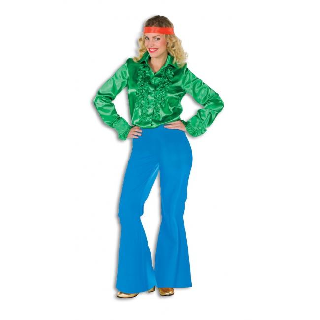 Blauwe wijd uitlopende verkleedbroek voor dames