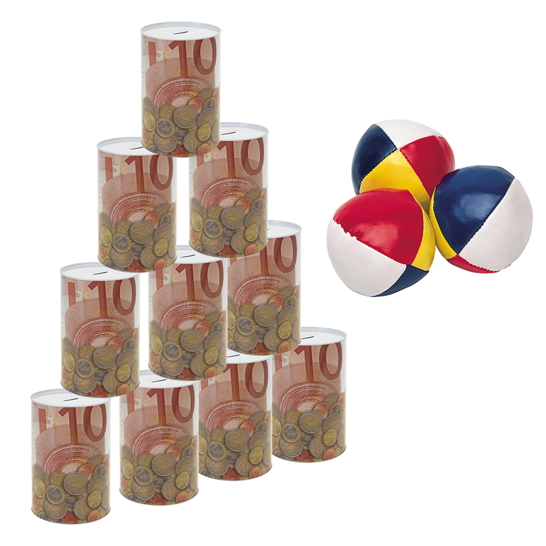 Blikken gooien 10 euro geld biljet blik 23 cm speelset 13-delig speelgoed