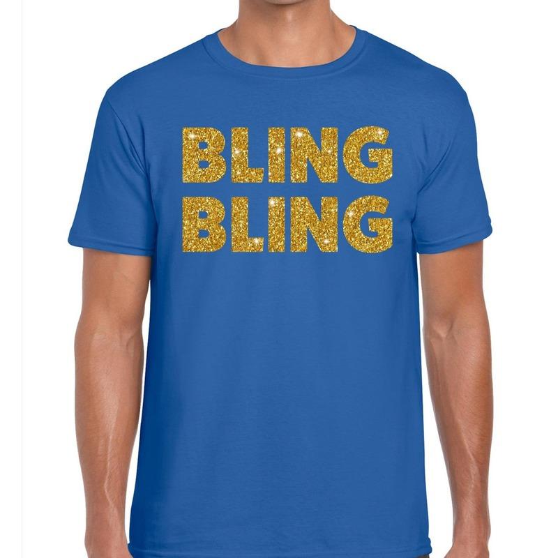 Bling Bling glitter tekst t-shirt blauw heren