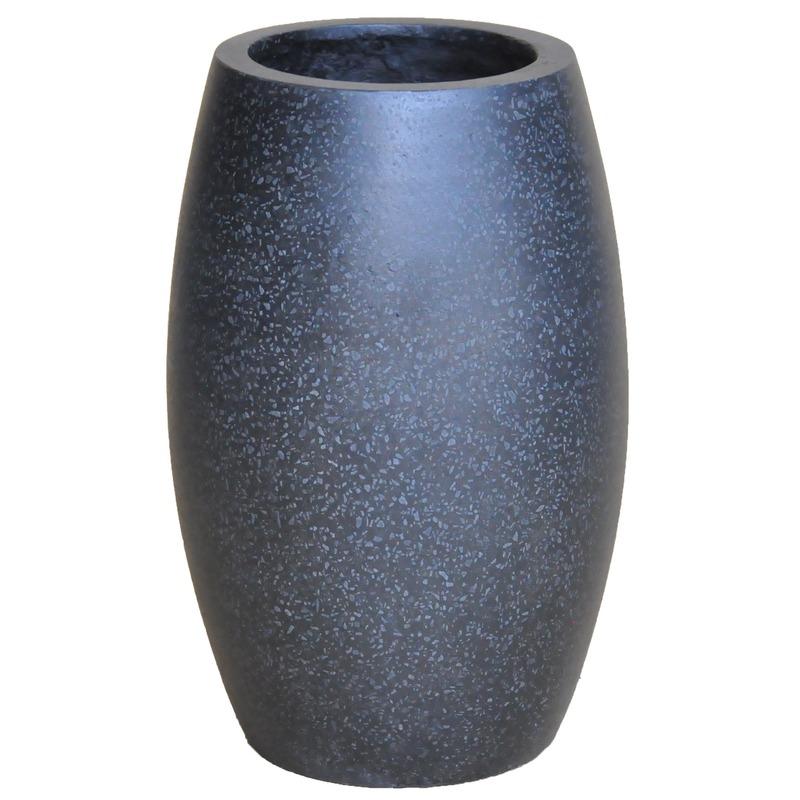 Bloempot/vaas ovaal zwart voor binnen/buiten 28 cm