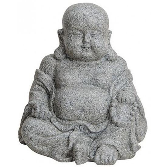 Boeddha beeldje grijs polystone 31 cm woondecoratie Grijs