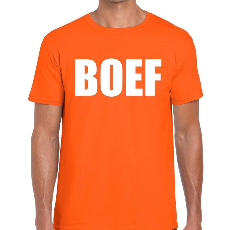 Boef tekst t-shirt oranje heren
