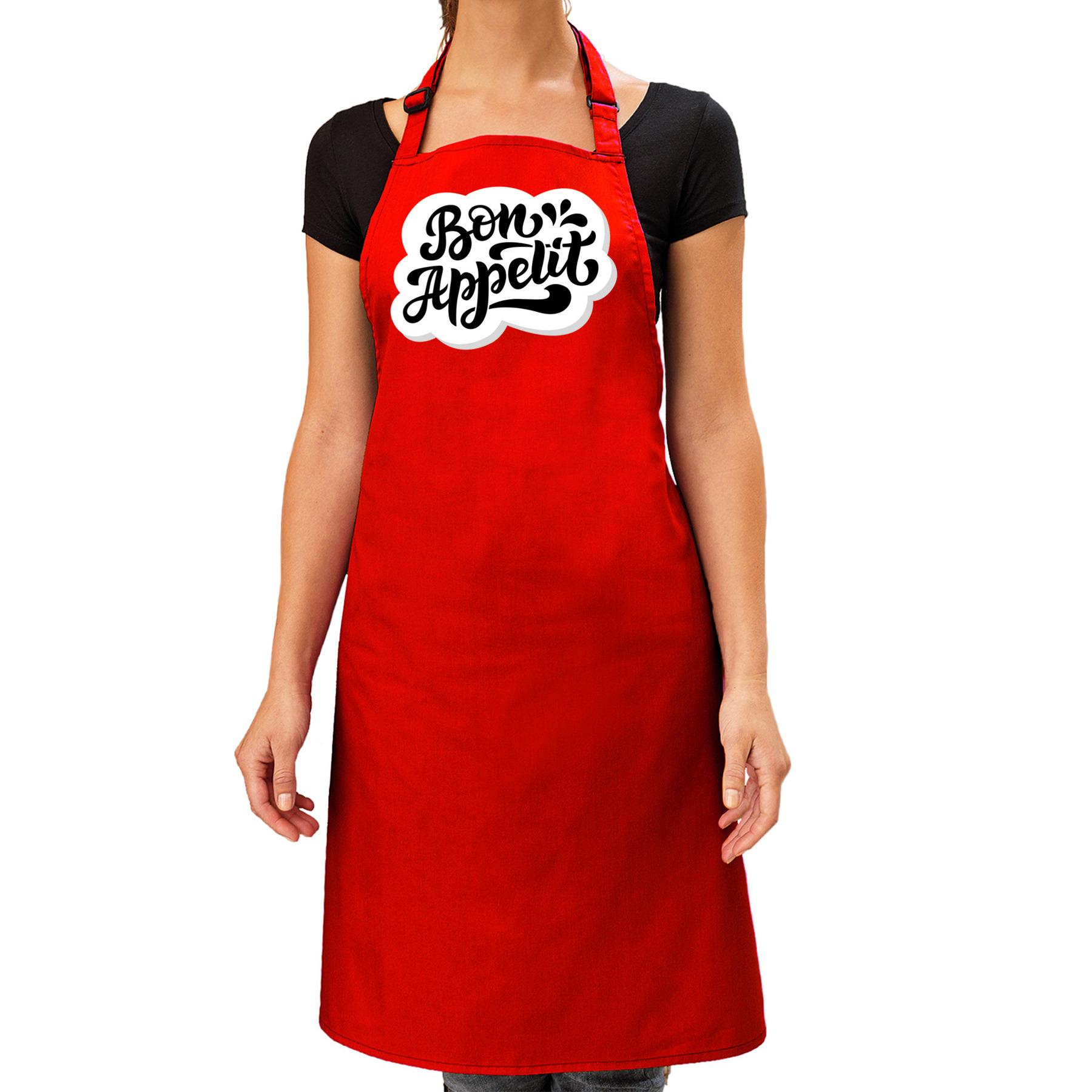 Bon appetit barbecueschort - keukenschort rood voor dames -