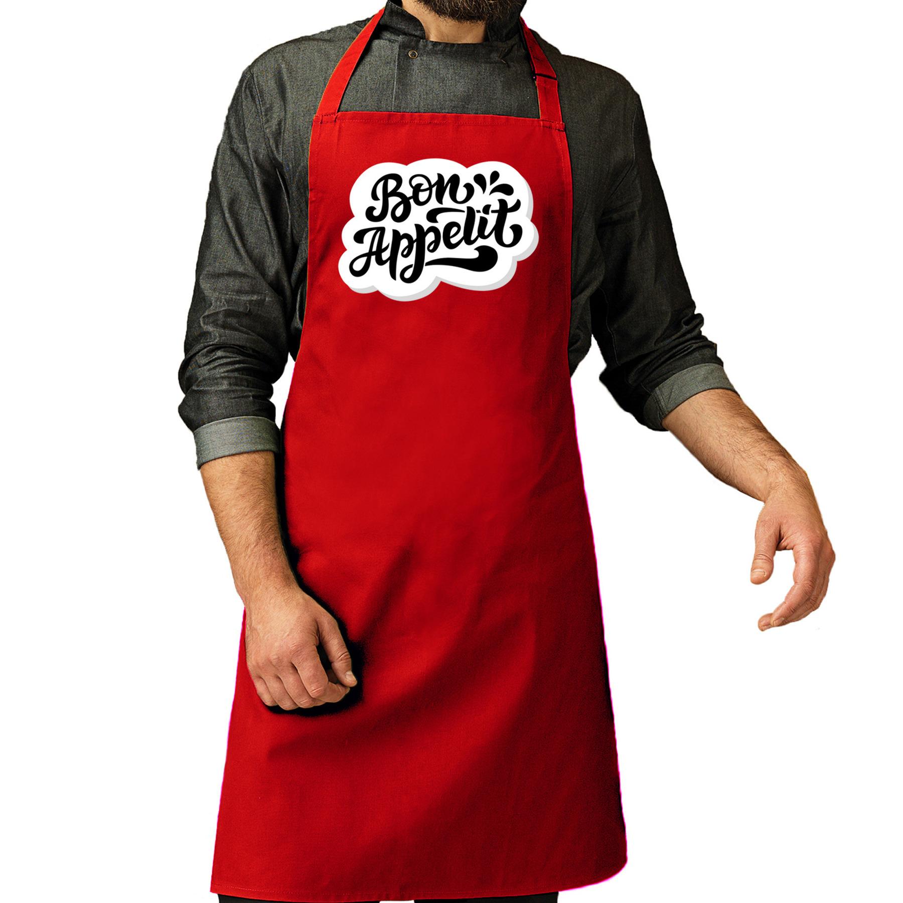 Bon appetit barbecueschort - keukenschort rood voor heren -