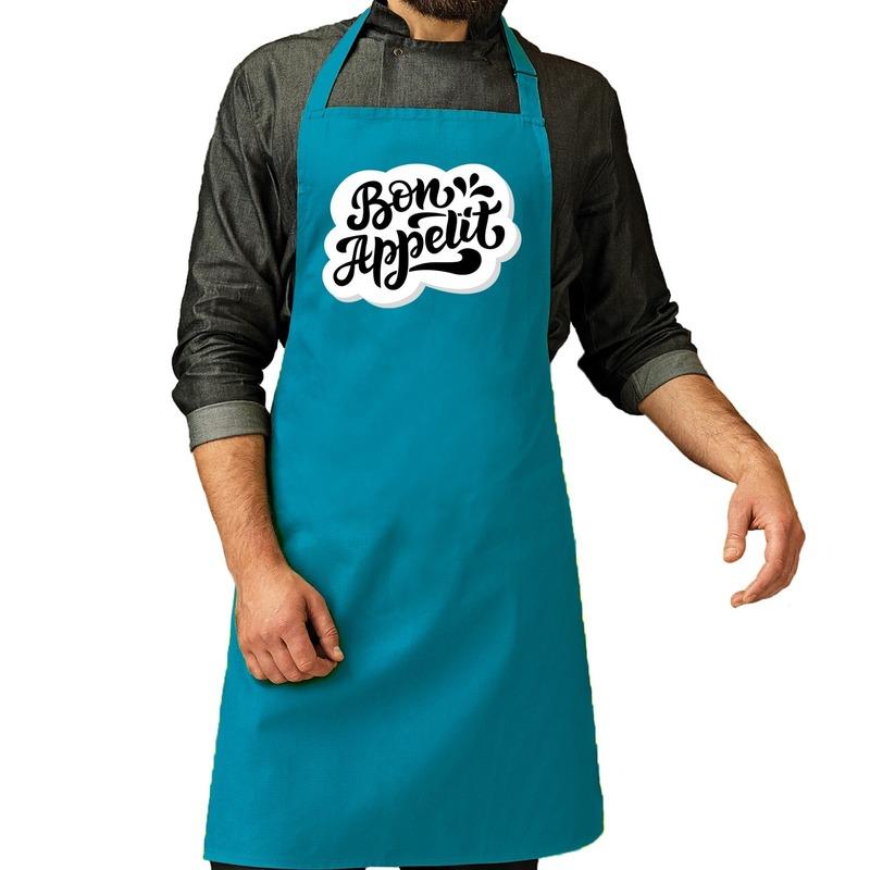 Bon appetit barbecueschort - keukenschort turquoise voor heren -