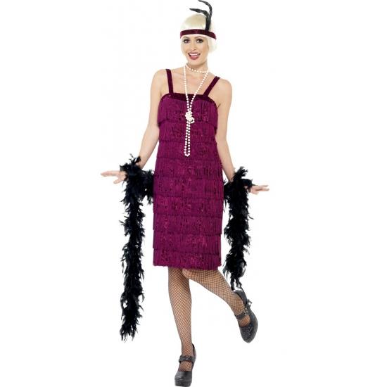 Bordeaux rood flapper jurkje verkleed kostuum voor dames