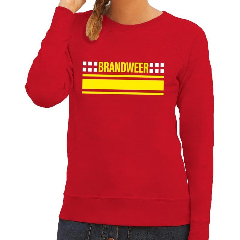 Brandweer logo sweater rood voor dames