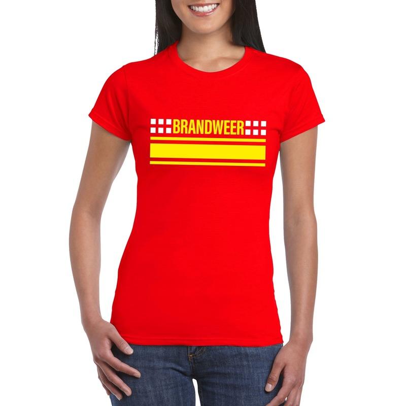 Brandweer logo t-shirt rood voor dames