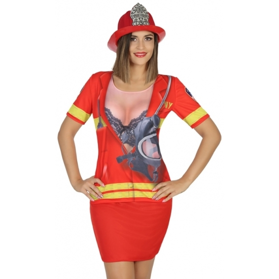 Brandweer verkleed shirt voor dames