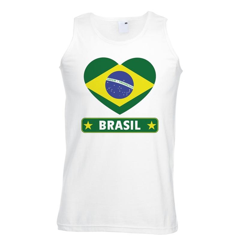 Brazilie hart vlag singlet shirt/ tanktop wit heren