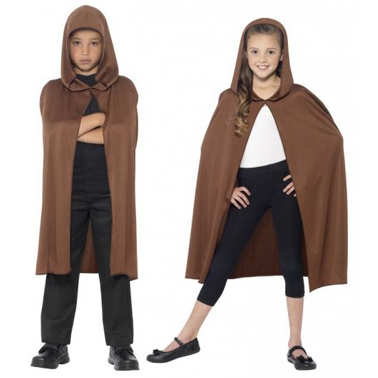 Bruine cape met capuchon voor kinderen