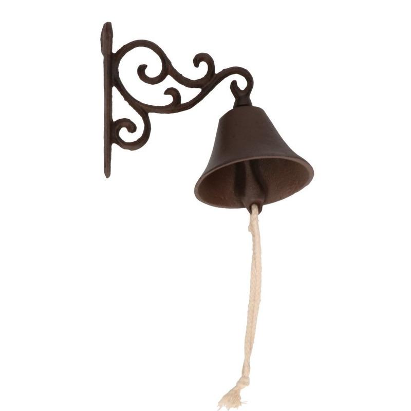 Bruine gietijzeren bel - deurbel 16 cm
