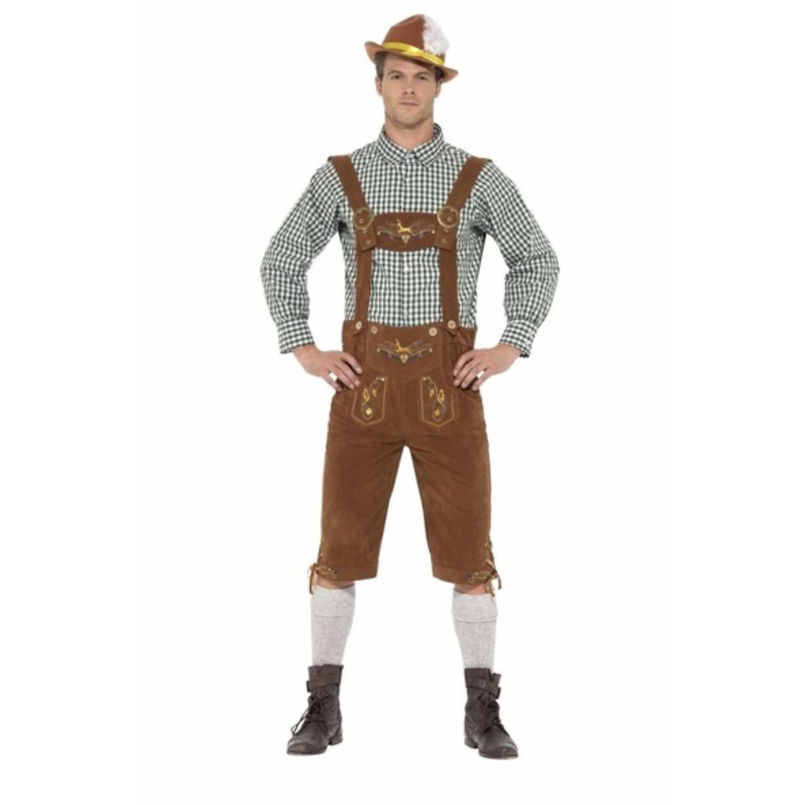 Bruine/groene Tiroler lederhosen kostuum met blouse voor heren