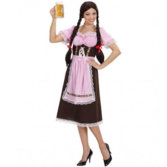 Bruine lange Tiroler jurk dames