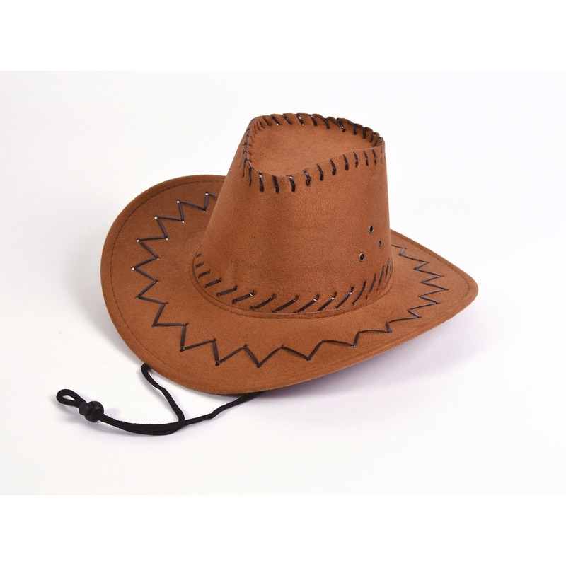 Bruine leren kinder cowboyhoed