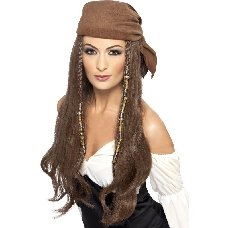 Bruine piratenpruik met bandana voor dames