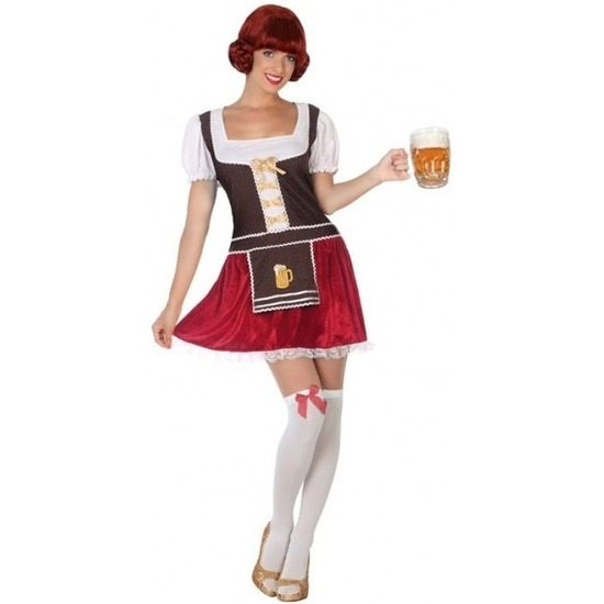 Bruine/rode Tiroler dirndl verkleed kostuum/jurkje voor dames