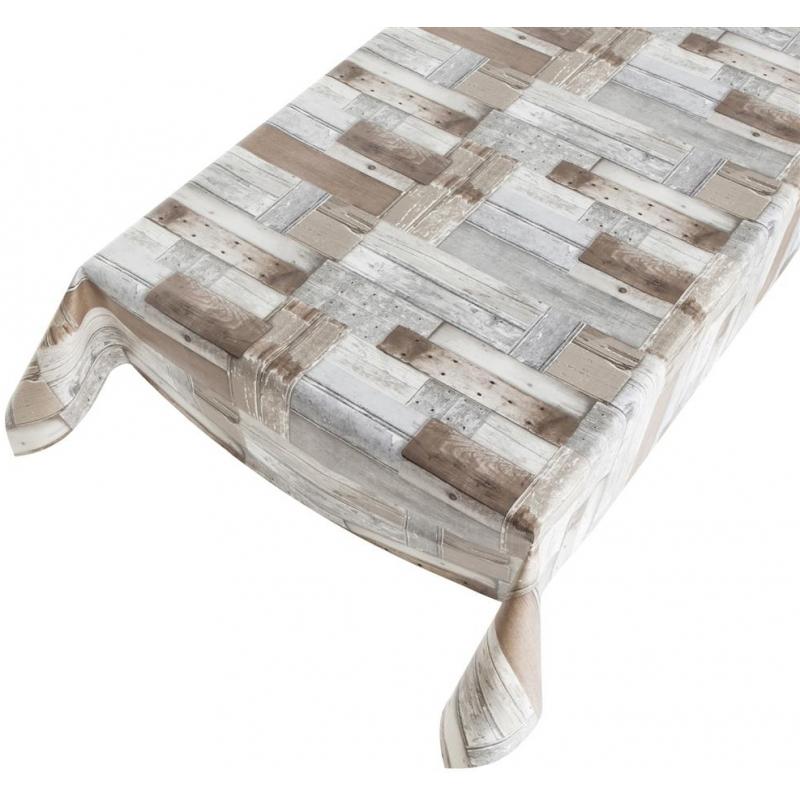 Buiten tafelkleed/tafelzeil houten planken print 140 x 245 cm