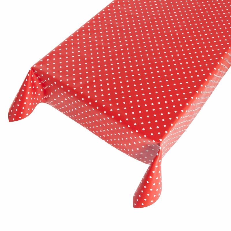 Buiten tafelkleed/tafelzeil polkadot rood 140 x 245 cm