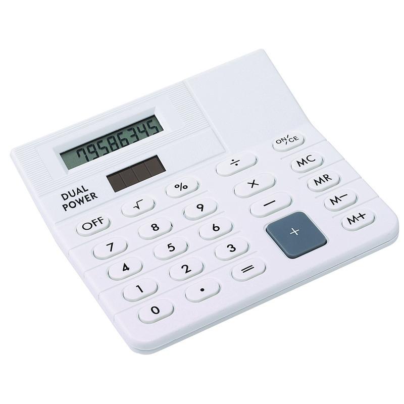 Bureau rekenmachine wit 12 cm