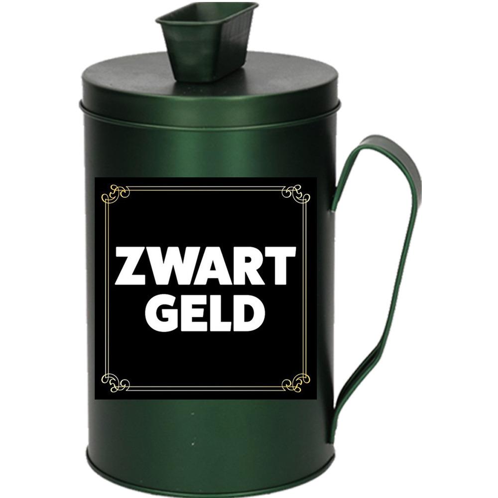 Cadeau/kado zwart geld collectebus groen 18 cm
