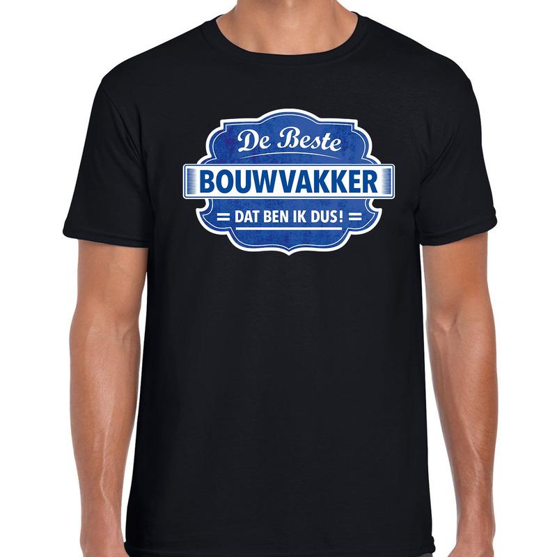 Cadeau t-shirt voor de beste bouwvakker zwart voor heren