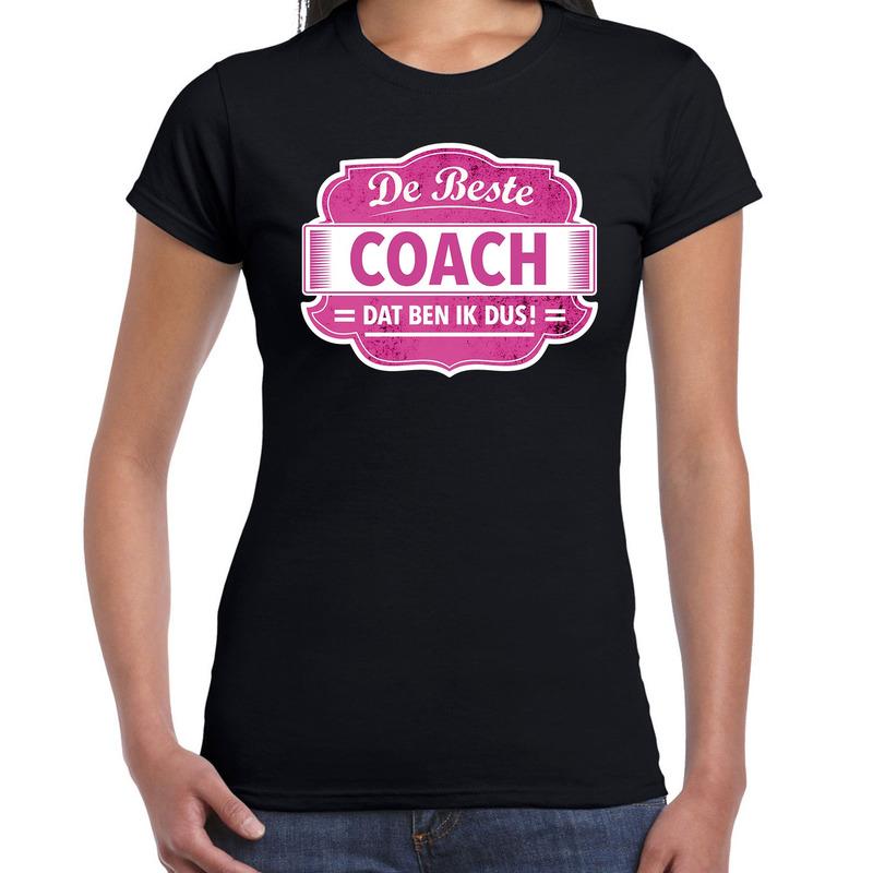 Cadeau t-shirt voor de beste coach zwart voor dames