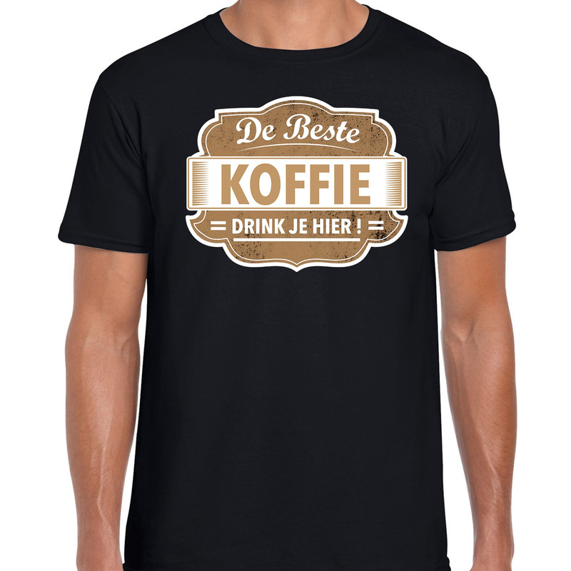 Cadeau t-shirt voor de beste koffie zwart voor heren