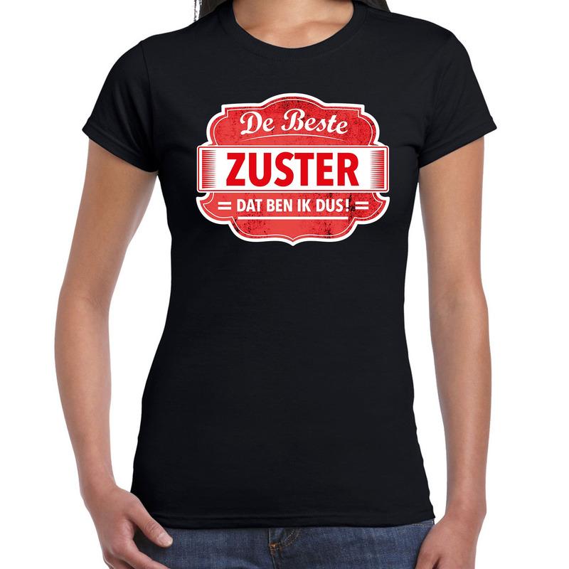 Cadeau t-shirt voor de beste zuster zwart voor dames