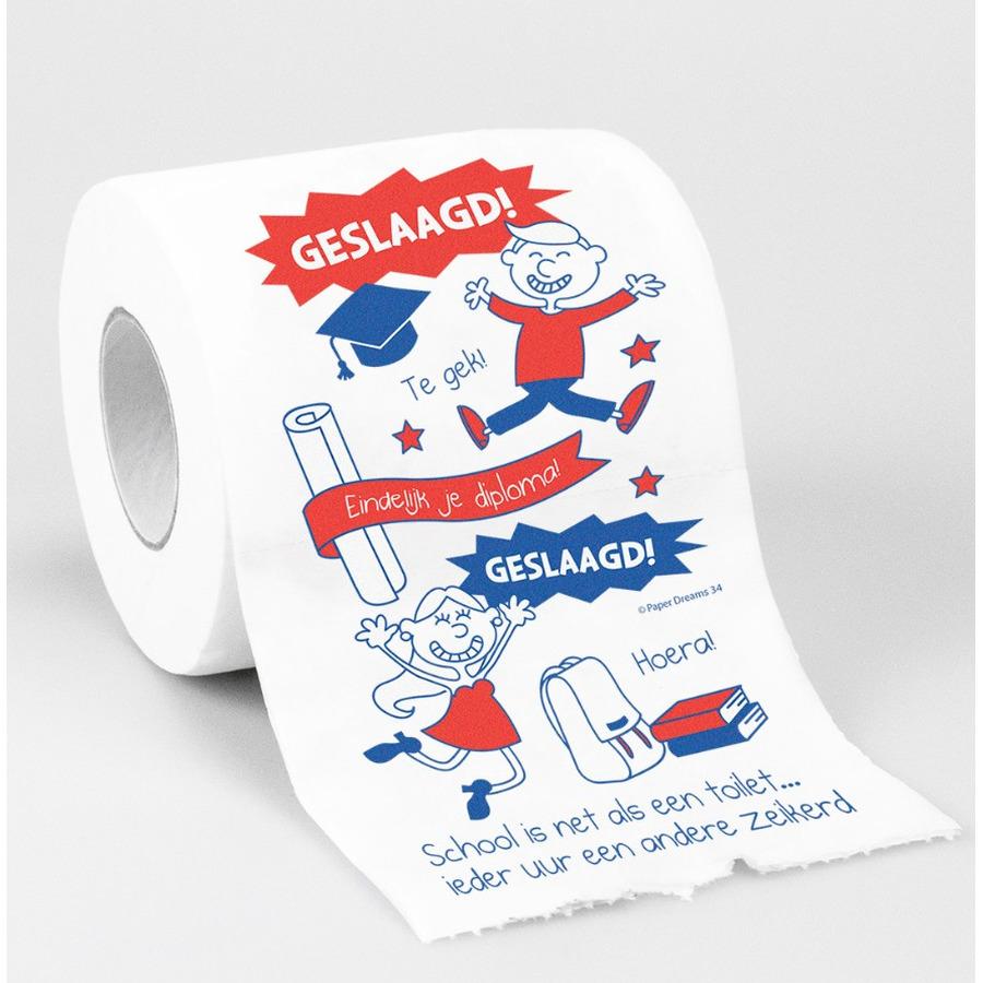 Cadeau toiletpapier rol geslaagd versiering decoratie