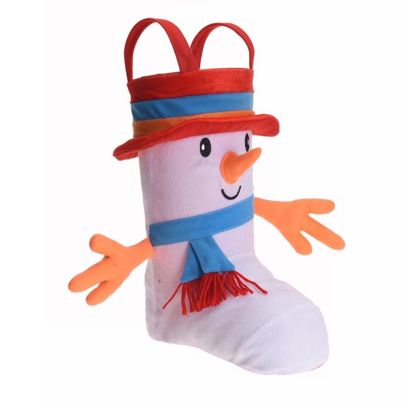 Cadeauzak/kerstsok schoen 3D sneeuwpop