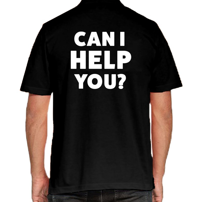 Can i help you beurs/evenementen polo shirt zwart voor heren