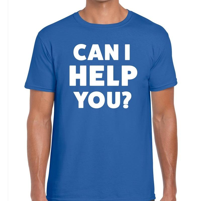 Can i help you beurs/evenementen t-shirt blauw heren